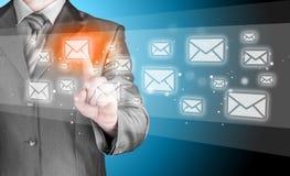 Concepto del correo electrónico del hombre de negocios Fotos de archivo libres de regalías