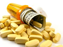 Concepto del coste de la medicación Imágenes de archivo libres de regalías