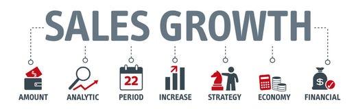 Concepto del crecimiento de las ventas de la bandera Ilustración del vector ilustración del vector