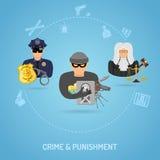 Concepto del crimen y del castigo Imagenes de archivo