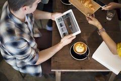 Concepto del cruasán de la reunión del café de la rotura de la cafetería foto de archivo