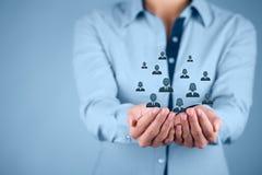 Concepto del cuidado del cliente o de los empleados Fotografía de archivo libre de regalías