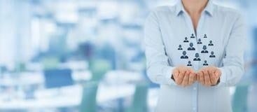 Concepto del cuidado del cliente o de los empleados Imagenes de archivo