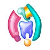 Concepto del cuidado dental La crema dental burbujea espuma Higiene oral Diseño plano del ejemplo del vector Aislado en fondo Fotos de archivo
