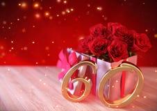 Concepto del cumpleaños con las rosas rojas en regalo en el escritorio de madera sexagésimo 60.o 3d rinden Foto de archivo