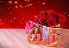 Concepto del cumpleaños con las rosas rojas en regalo en el escritorio de madera sixtyfifth 65.o 3d rinden stock de ilustración