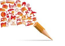 Concepto del día de fiesta con un lápiz que se escapa del pictograma que simboliza felicidad y ocio ilustración del vector