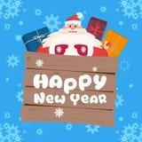 Concepto del día de fiesta de la Feliz Navidad de la tarjeta de felicitación de Santa Claus On Happy New Year Imágenes de archivo libres de regalías