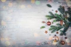 Concepto del día de fiesta de la Feliz Navidad y de la Feliz Año Nuevo Primer de b imagen de archivo