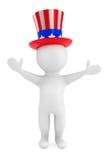Concepto del Día de la Independencia. pequeña persona 3d con el sombrero americano Imagen de archivo libre de regalías