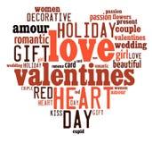 Concepto del día de tarjetas del día de San Valentín en nube de la etiqueta de la palabra fotografía de archivo libre de regalías