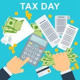 Concepto del día del impuesto El hombre calcula el coste de una calculadora ilustración del vector