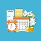 Concepto del día del pago de impuestos Impuestos federales de la renta, plazo mensual, plazo  Calendario financiero, facturas Ico Foto de archivo libre de regalías