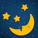Concepto del día del sueño del mundo Buenas noches Estrella y luna foto de archivo libre de regalías