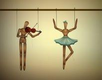Concepto del dúo de la música, pares uno de los merionettes que bailan y el un jugar violine, ilustración del vector