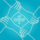 Concepto del d?a de la amistad manos que se detienen ejemplo común del vector diseño de la tarjeta de felicitación para el día fe ilustración del vector