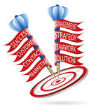 Concepto del dardo del márketing Concepto de la blanco con las banderas Foto de archivo libre de regalías