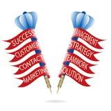 Concepto del dardo del márketing Flechas con las banderas Fotos de archivo
