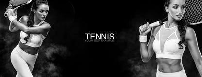 Concepto del deporte Se divierte al jugador de tenis de la mujer con una estafa Copie el espacio Foto blanco y negro de Pekín, Ch Imagenes de archivo