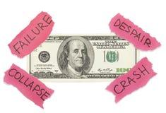 Concepto del derrumbamiento del dólar Fotos de archivo