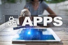 Concepto del desarrollo de Apps Tecnología del negocio y de Internet foto de archivo libre de regalías