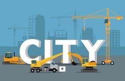 Concepto del desarrollo de la ciudad Bandera de la estructura en estilo plano stock de ilustración