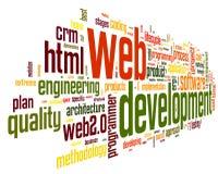 Concepto del desarrollo del Web en nube de la etiqueta de la palabra Imágenes de archivo libres de regalías