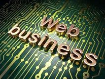 Concepto del desarrollo web de SEO: Negocio del web en backg de la placa de circuito Imagen de archivo