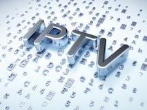 Concepto del desarrollo web de SEO: Plata IPTV en fondo digital Fotografía de archivo