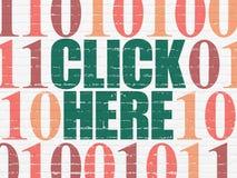 Concepto del desarrollo web: Haga clic aquí en la pared Imagen de archivo libre de regalías