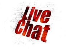 Concepto del desarrollo web: Live Chat en el fondo de Digitaces Fotografía de archivo libre de regalías