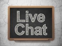 Concepto del desarrollo web: Live Chat en fondo de la pizarra Fotos de archivo