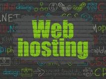 Concepto del desarrollo web: Web hosting en la pared Fotos de archivo