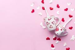 Concepto del desayuno del día del ` s de la tarjeta del día de San Valentín Imagen de archivo libre de regalías