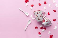 Concepto del desayuno del día del ` s de la tarjeta del día de San Valentín Fotografía de archivo libre de regalías