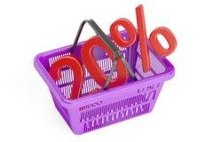 Concepto del descuento y de la venta el 20%, representación 3D Fotografía de archivo