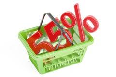 Concepto del descuento y de la venta el 55%, representación 3D Imagen de archivo libre de regalías