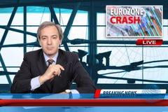 Concepto del desplome de la zona euro Fotografía de archivo