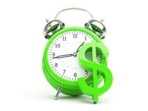 Concepto del dinero con la muestra del reloj y de dólar Imágenes de archivo libres de regalías
