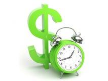 Concepto del dinero con la muestra del reloj y de dólar Imagen de archivo