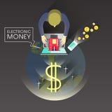 Concepto del dinero electrónico en diseño plano Fotografía de archivo libre de regalías