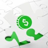 Concepto del dinero: Moneda del dólar en fondo del rompecabezas stock de ilustración