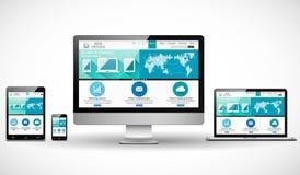 Concepto del diseño web con la maqueta moderna de los dispositivos Imágenes de archivo libres de regalías
