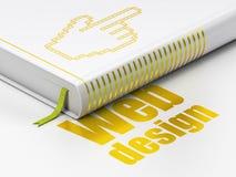 Concepto del diseño web: cursor del ratón del libro, diseño web Imagen de archivo