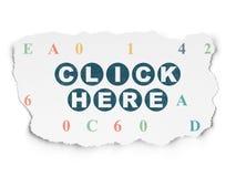 Concepto del diseño web: Haga clic aquí en el papel rasgado Imagen de archivo