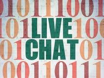 Concepto del diseño web: Live Chat en fondo del papel de datos de Digitaces Fotos de archivo