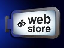 Concepto del diseño web: Web Store y engranajes en fondo de la cartelera ilustración del vector