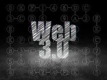 Concepto del diseño web: Web 3 0 en sitio oscuro del grunge Fotos de archivo