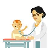 Concepto del doctor del pediatra Médico de la mujer joven y niño feliz en estilo plano en el fondo blanco