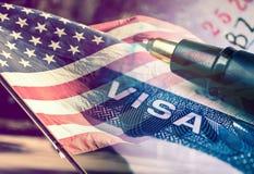 Concepto del documento de la visa de los Estados Unidos de América Foto de archivo